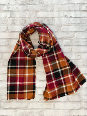 Cranberry and Gold Flannel Scarf