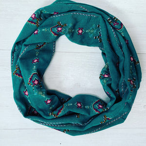 Green Crepe Infinity Scarf