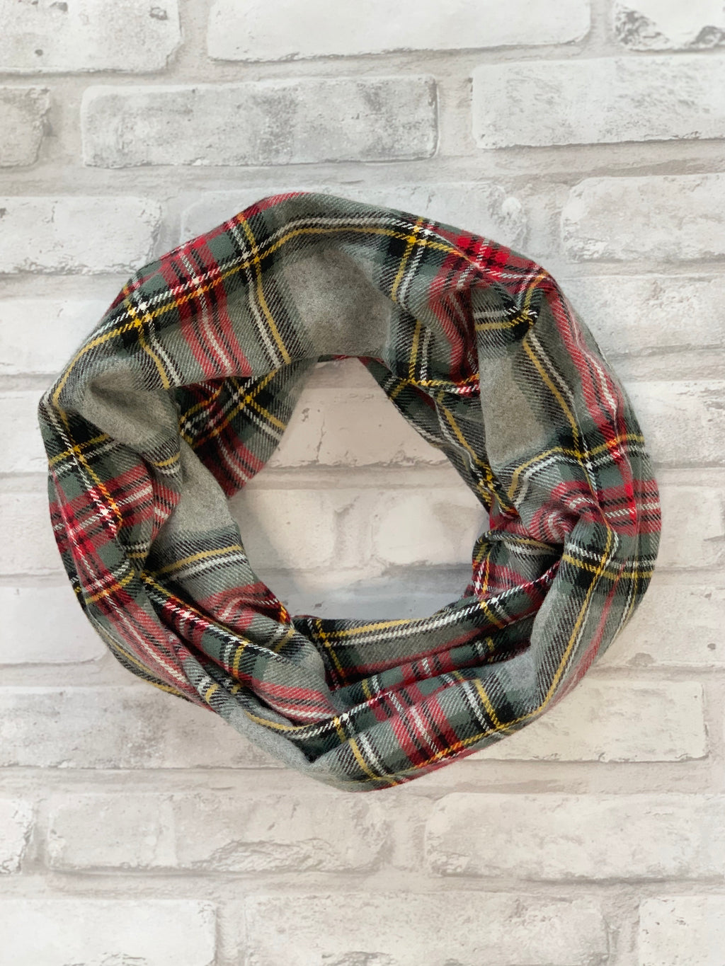Grey Classic Plaid Flannel Scarf