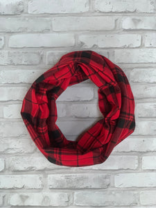 Red and Black Flannel Infinity Scarf