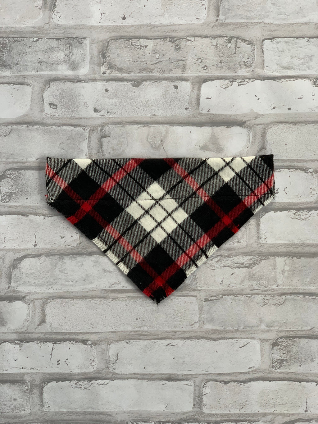 Black, Red & White Plaid Dog Scarf
