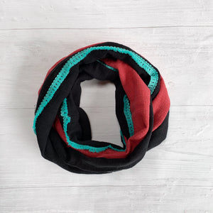 Coral and Black Infinity Scarf
