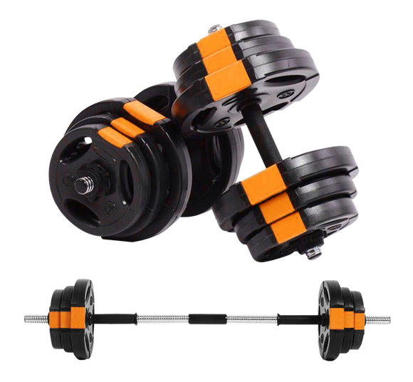 15kg Complete Dumbbell Set converts to barbell