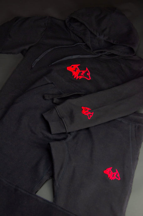 Red On Black Hybrid Tracksuit