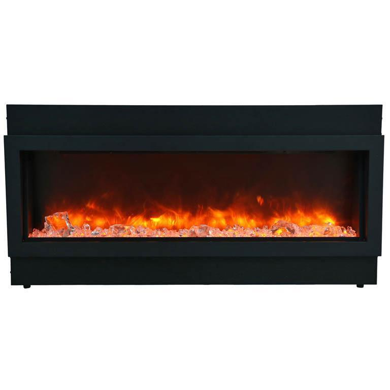 Amantii Slim Panorama Black Steel Surround Slim Electric Fireplace BI-50-SLIM-OD, 50""