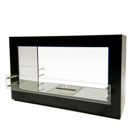 "The Bio Flame Argento - 44"" Double Sided See-Through Ethanol Fireplace"
