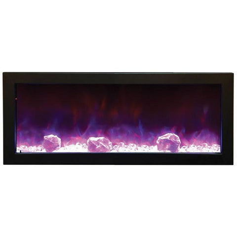 Amantii Panorama Black Steel Surround Slim Electric Fireplace BI-40-SLIM, 38.62""