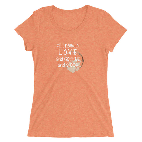 Love, Coffee and a Dog Ladies' short sleeve t-shirt
