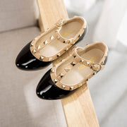 Aila-Girl's Gold Studded Patent Leather Baby Doll Shoes