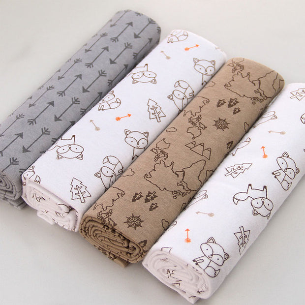 4pc 100% Cotton Flannel Receiving Blanket
