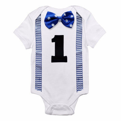 Edward-Onesie With Bow Tie And Printed Suspenders