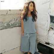Quinn-Sleeveless Top with Drawstring Gaucho Pants