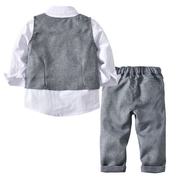 Albert-4 Piece Gray Suit Set With Bow Tie