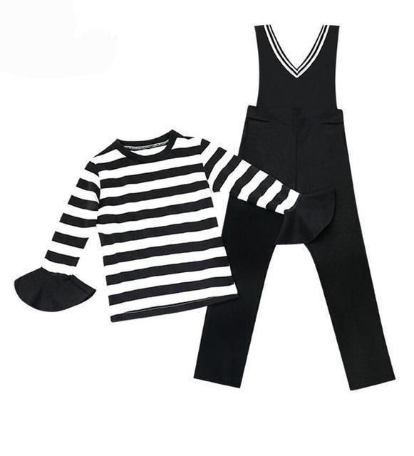 Brielle-Black Overalls With Striped Flared Sleeve Shirt