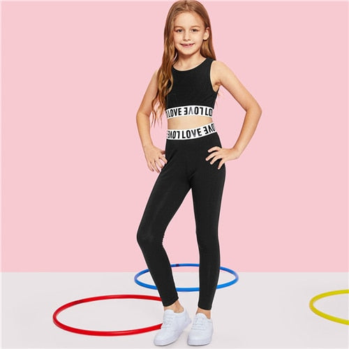 Teagan-Girls Sports Top & Leggings