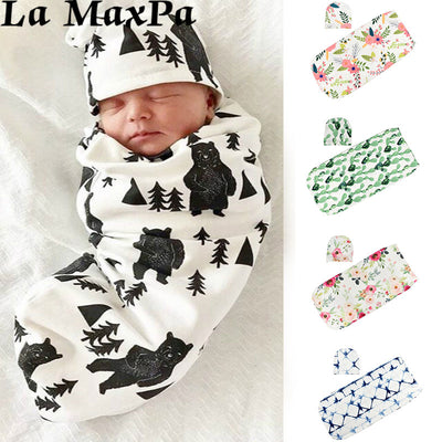 2pc Swaddle Blanket and Hat Set