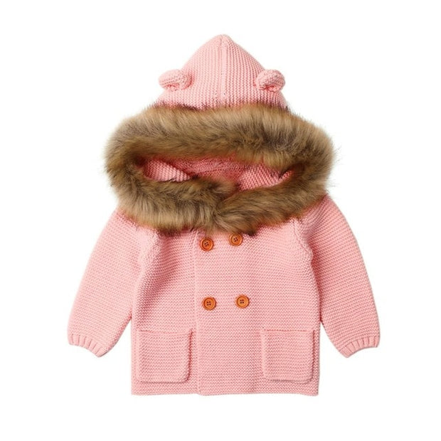 Axel- Hand Knitted Hooded Baby Jacket and Jumper