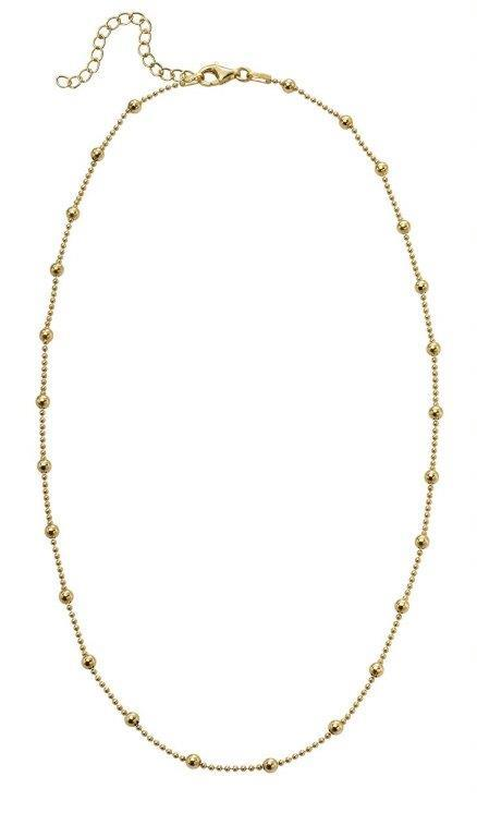 Beginnings Gold Plated Sterling Silver Ball Bead and Chain Station Necklace , Length 41-46cm