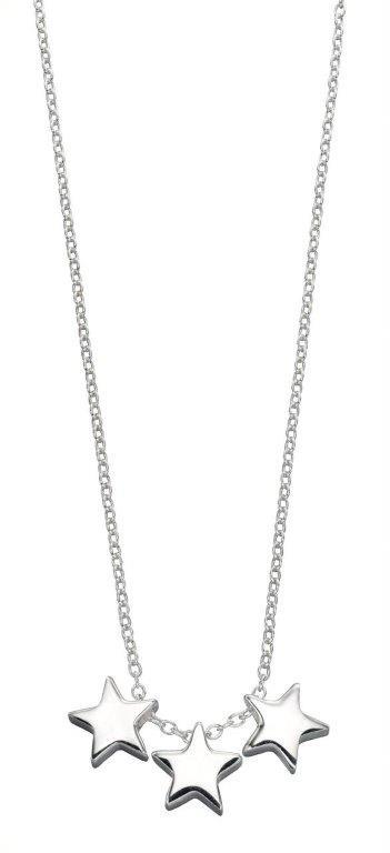 Beginnings Sterling Silver Triple Star Necklace , Length 42cm plus 2cm Extender