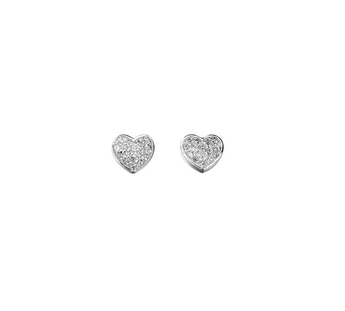 Beginnings Sterling Silver Pave Cubic Zirconia Heart Stud Earrings