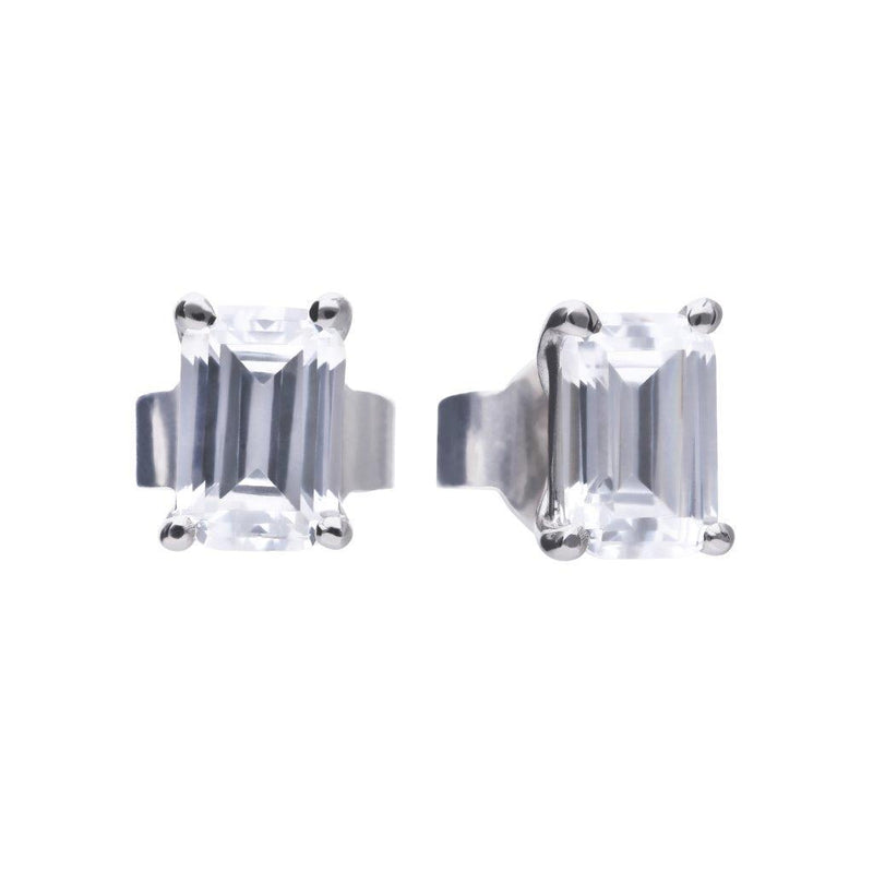 Diamonfire Sterling Silver Emerald Cut Cubic Zirconia Stud Earrings with Platinum, Palladium and Rhodium Plating