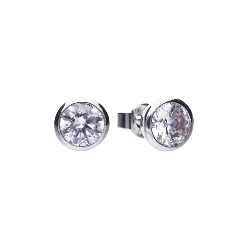 Diamonfire Sterling Silver 1ct Cubic Zirconia Rub Over Bezel Set Solitaire Stud Earringswith Platinum Palladium and Rhodium Plating