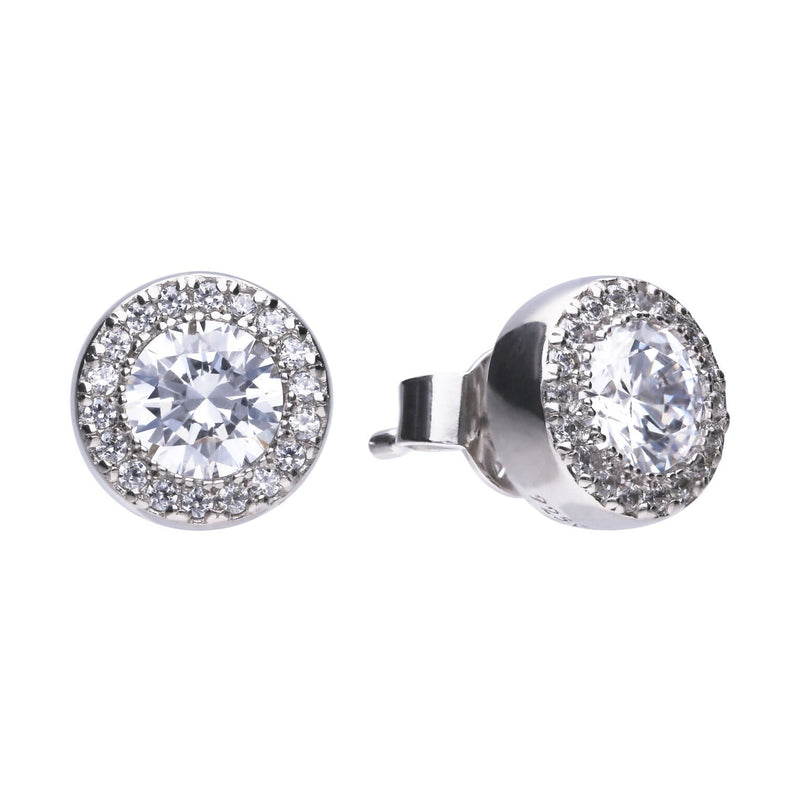 Diamonfire Sterling Silver Cubic Zirconia Halo Earrings with Platinum, Palladium and Rhodium Plating