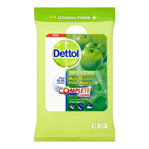 Dettol Clean & Fresh Multipurpose Refreshing Green Apple 15 Extra Large Wipes