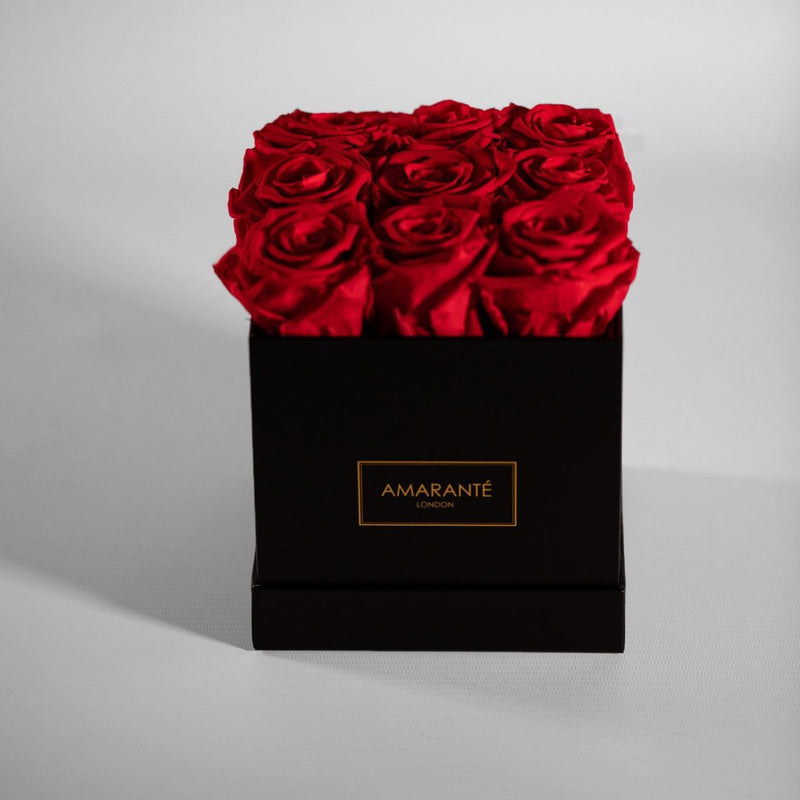 Amarante London Medium Flowers Square Hat Box - Black