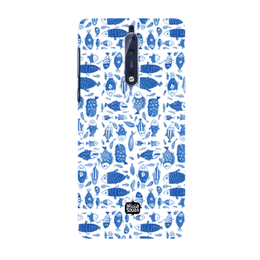 China Blue Fish - Nokia 8 Phone Cover