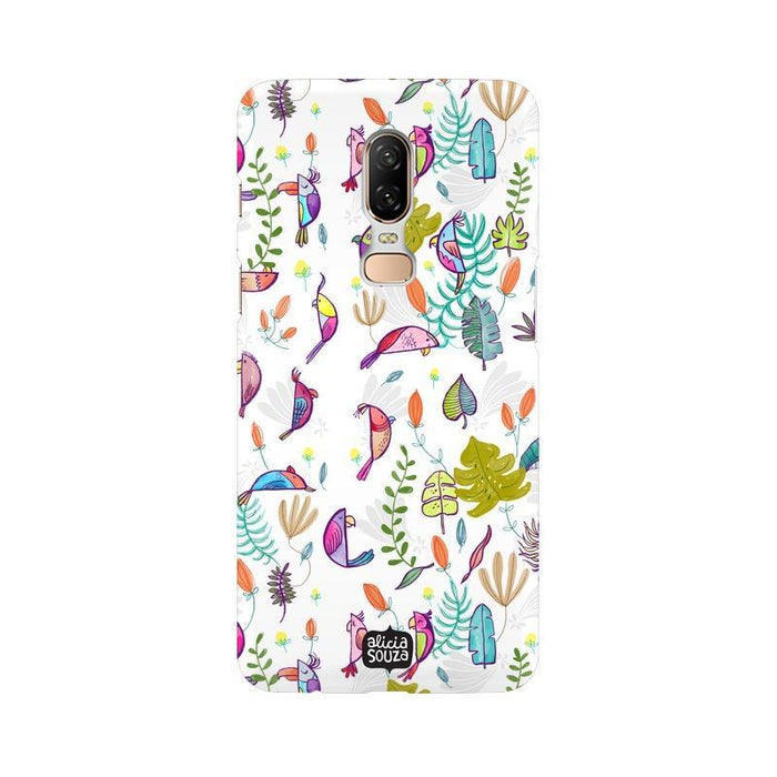 Parrots and Peace White - OnePlus 6 Phone Cover