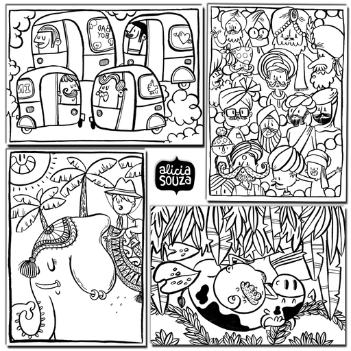 Colour-In(dia) Postcards, Set of 4