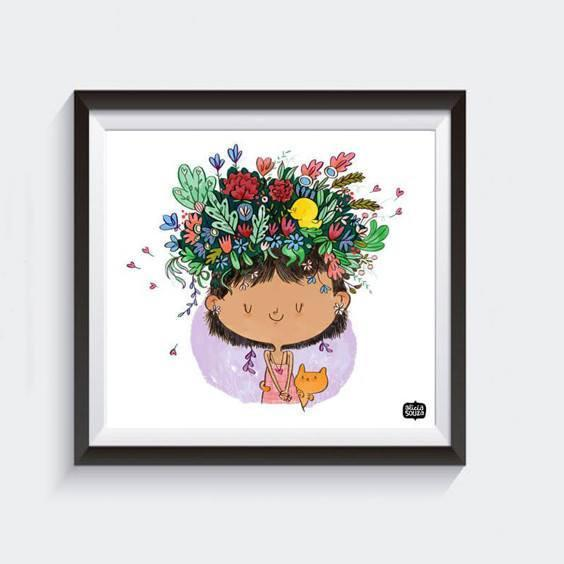 Prints - Flower On The Head Wall Art