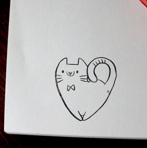 White Cat Stamp