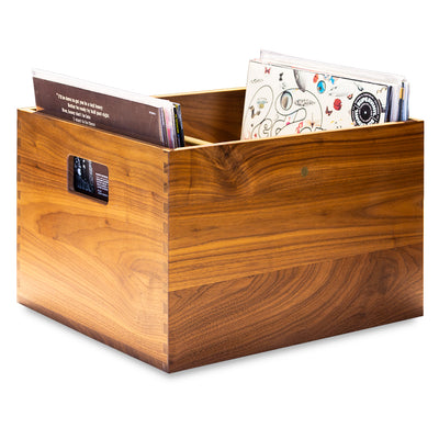 RECORD CRATE BRASS WALNUT