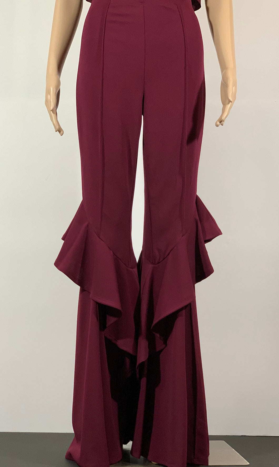 Wine High Waist Ruffle Pants