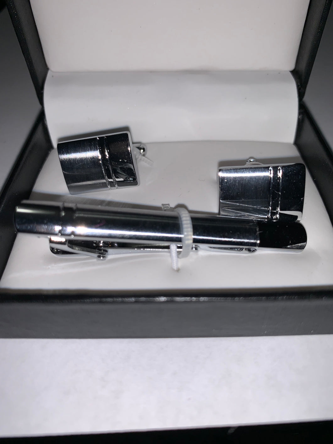 Silver Cuff Links and Tie Clip