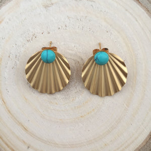Boucles coquillage turquoise - plaqué or