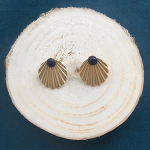 Boucles coquillage blue sand - plaqué or