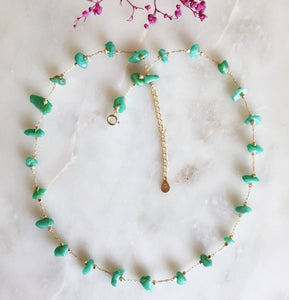 Collier amazonite verte doré à l'or fin