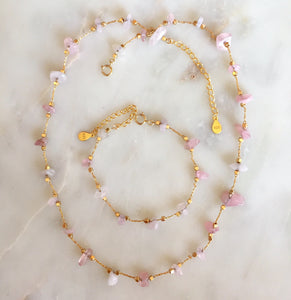 Collier quartz rose doré à l'or fin