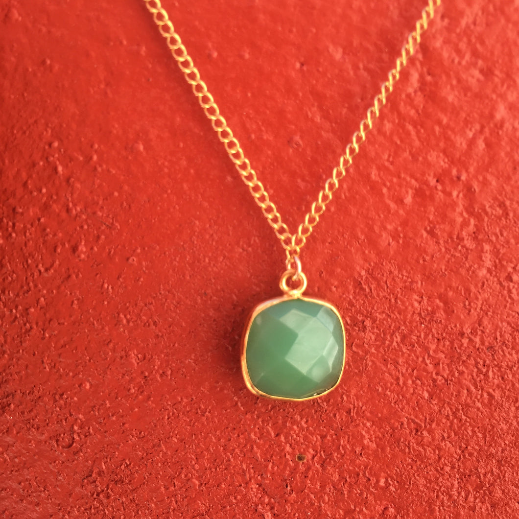 Collier chrysoprase or