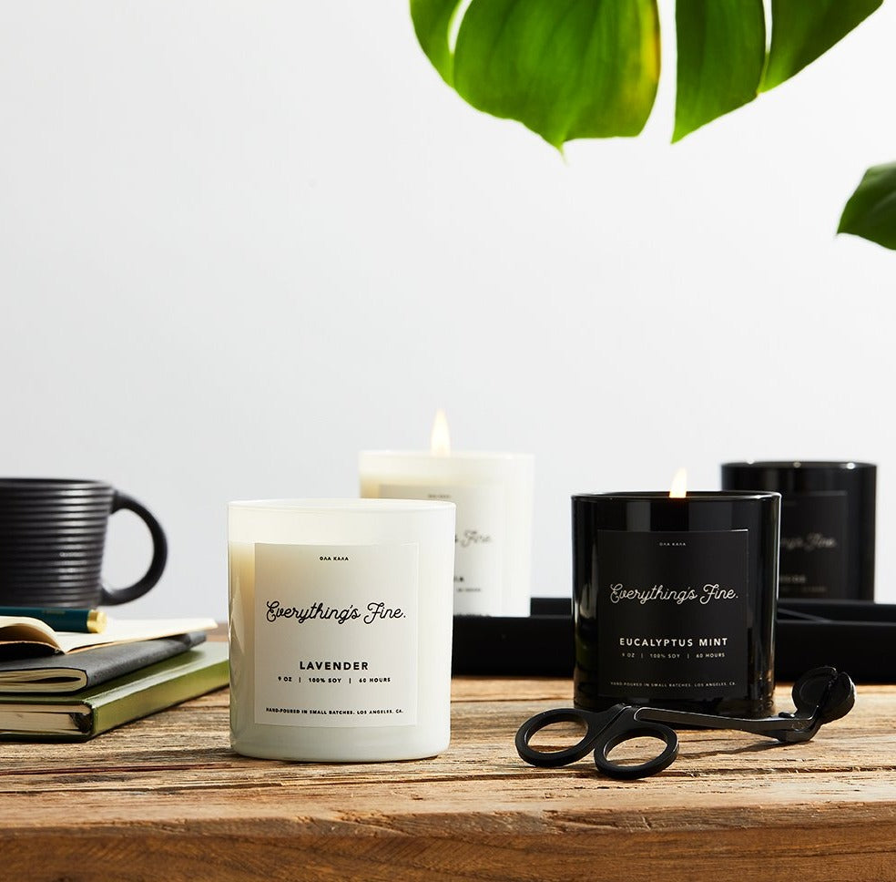 100% soy wax, hand-poured in ultra small batches in Los Angeles, CA. Made with a lead-free cotton wick and premium fragrance and essential oils for a clean burn. lavender, orange, lemon, cedarwood, bergamot