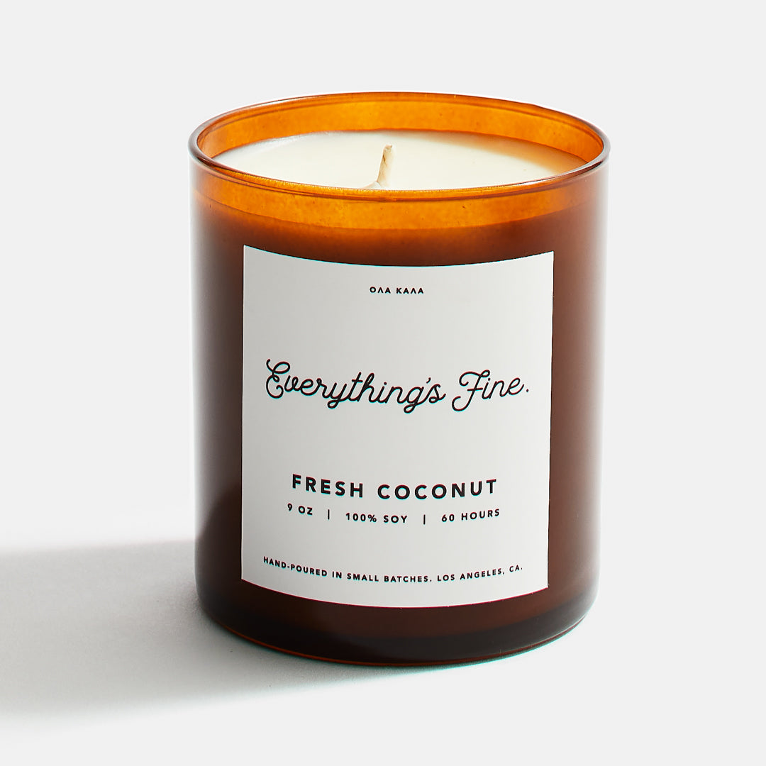 100% soy wax, hand-poured in ultra small batches in Los Angeles, CA. Made with a lead-free cotton wick and premium fragrance and essential oils for a clean burn. fresh coconut tropical pina colada candle