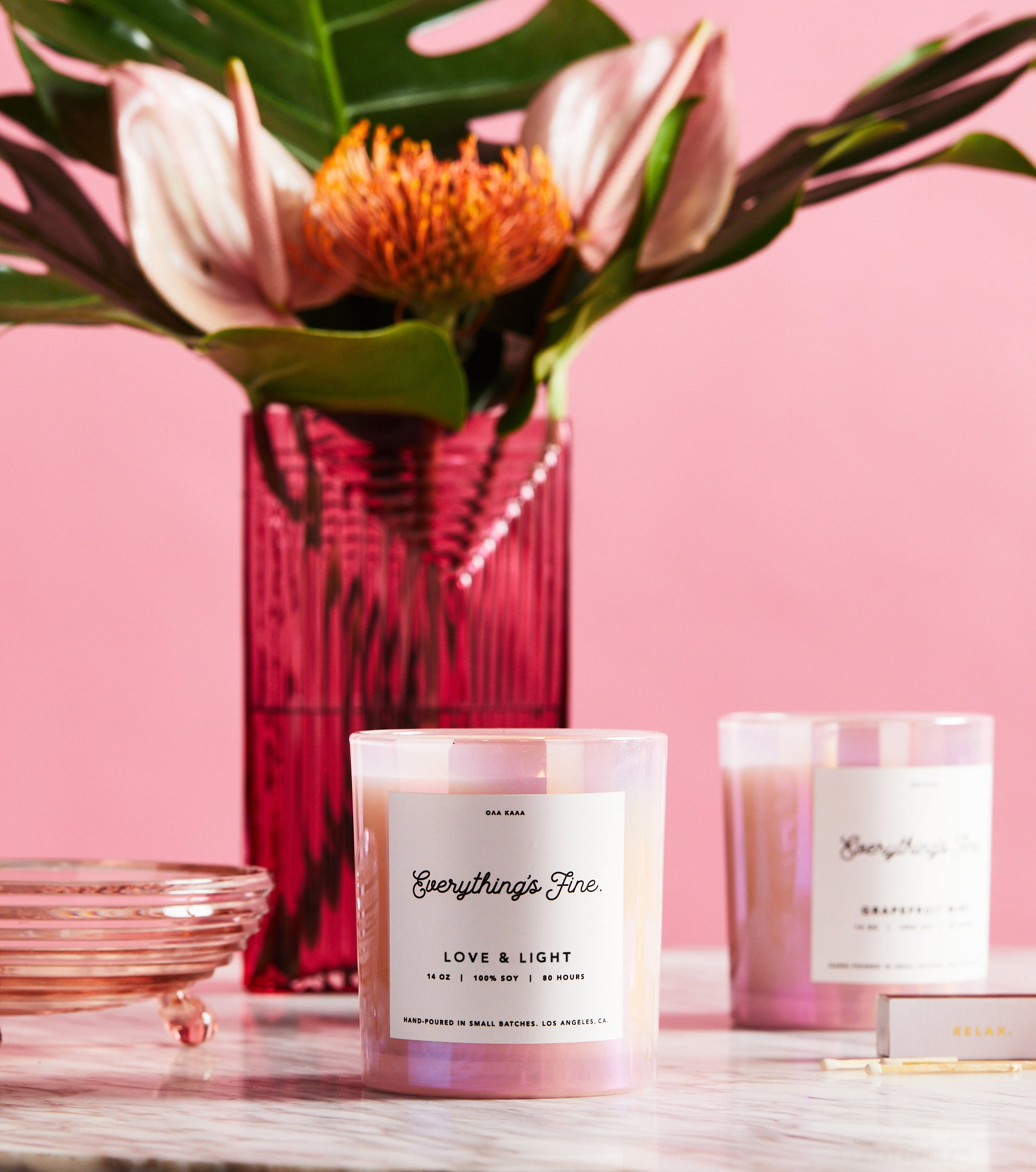 100% soy wax, hand-poured in ultra small batches in Los Angeles, CA. Made with a lead-free cotton wick and premium fragrance and essential oils for a clean burn. Bergamot, Mandarin, Freesia, Jasmine, Rose, Musk