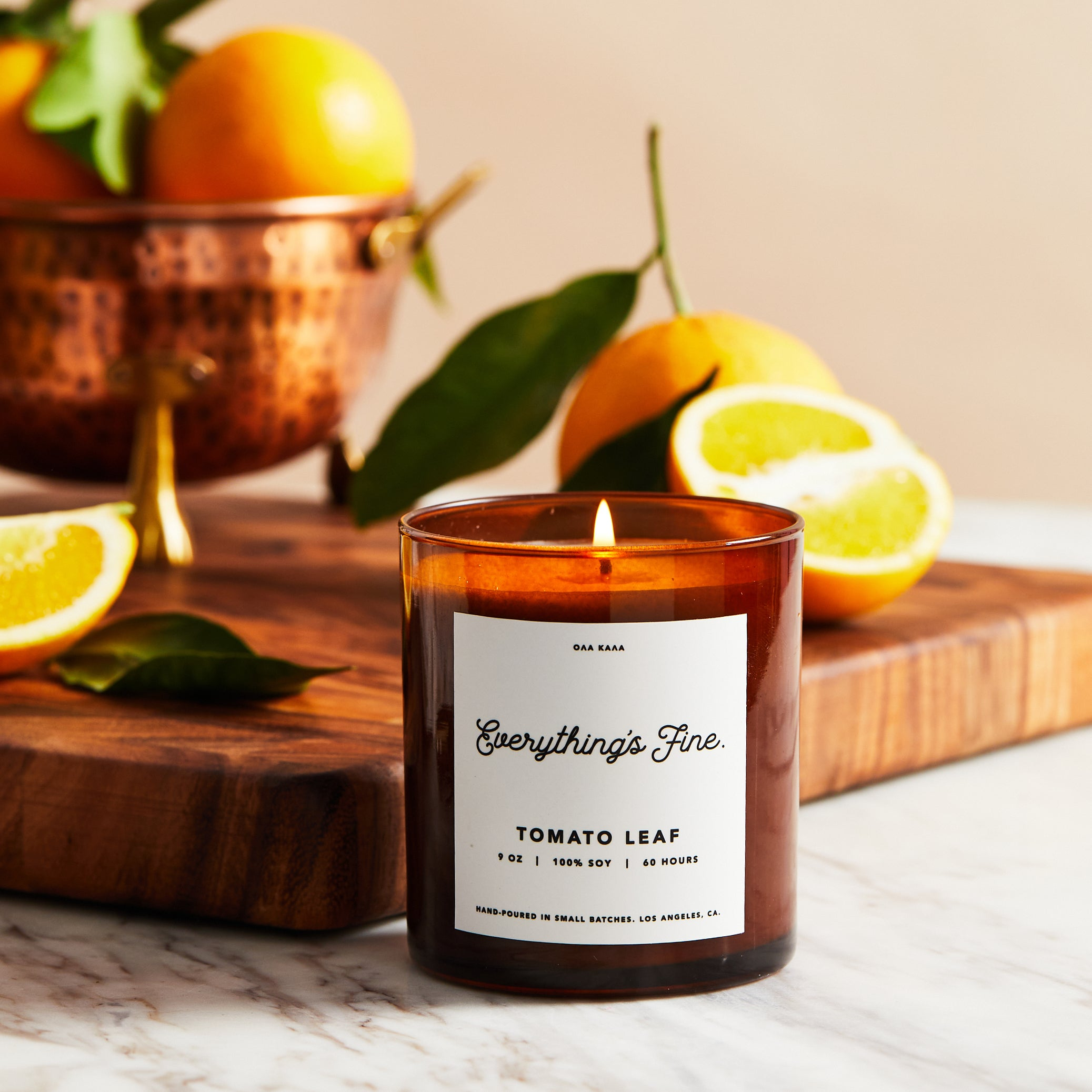 100% soy wax, hand-poured in ultra small batches in Los Angeles, CA. Made with a lead-free cotton wick and premium fragrance and essential oils for a clean burn. Tomato Leaf, Lemon Peel, Lemongrass, Basil, Thyme, Green Leaves, Moss