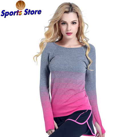 027d36c49f5d4 Women Professional Yoga Sport Gradient Color T Shirt Long Sleeves  Hygroscopic QuickDry Fitness Elastic T-