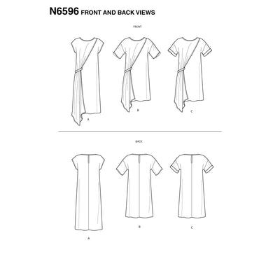 6596 New Look Sewing Pattern N6596 Misses' Asymmetrical Dress