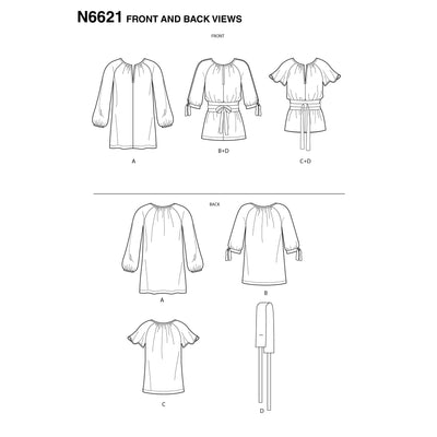 6621 New Look Sewing Pattern N6621 Misses' Top Or Tunic
