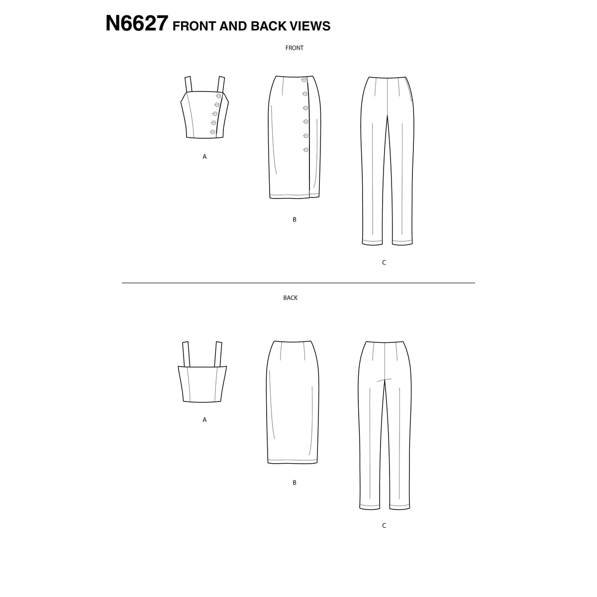 6627 New Look Sewing Pattern N6627 Misses' Top, Skirt, And Pants